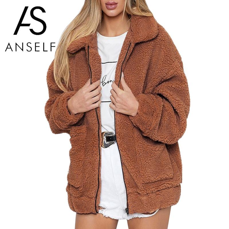 Anself Women Faux Fur Jacket Fluffy Teddy Bear Fleece Fake Fur Coat Zip Pocket Long Sleeve Casual Streetwear Manteau Femme