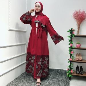 Open Abaya Dubai Robe Hijab Muslim Dress Kaftan Caftan Marocain Jilbab Elbise Oman Prayer Dress Ramadan Turkish Islamic Clothing