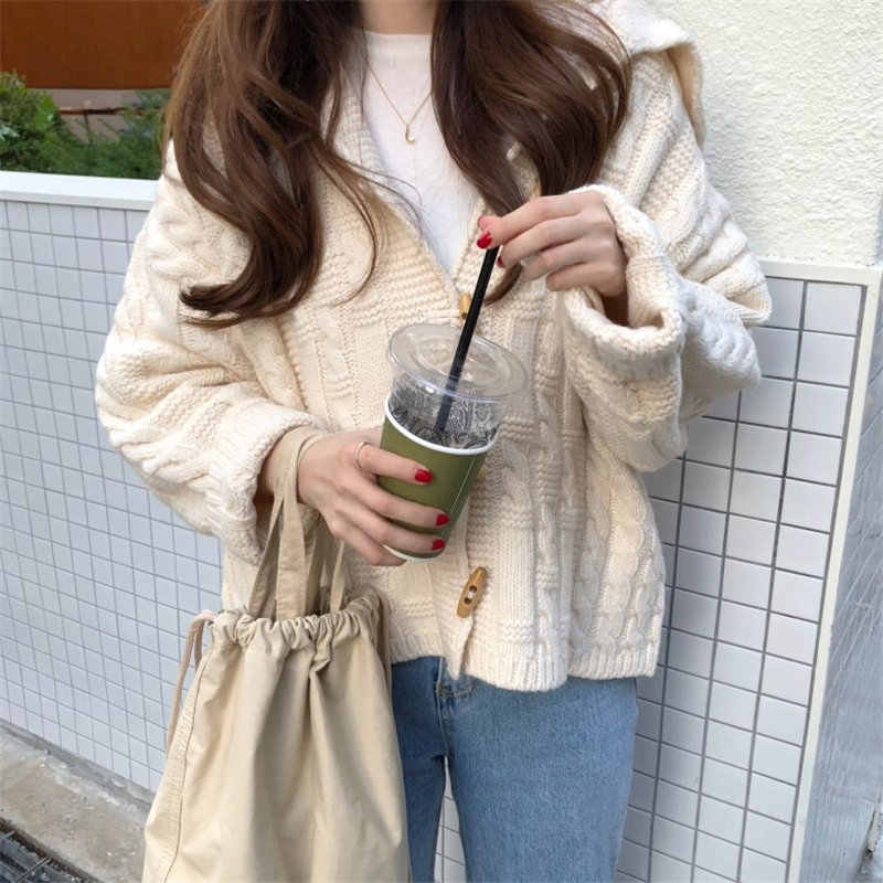 2019 가을 따뜻한 한국 카디건 니트 숙녀 양모 후드 티크 스웨터 루즈 오버 사이즈 하라주쿠 화이트 카와이 점퍼