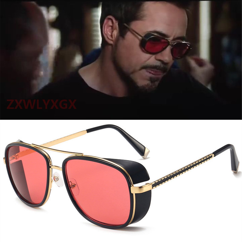 Iron Man 3 Avengers Tony Stark Sunglasses Men Brand Designer Rossi Coating Retro Vintage Sun Glasses Oculos Masculino Gafas