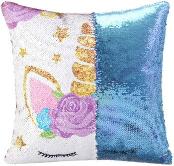 Blue Sequin Unicorn cushion