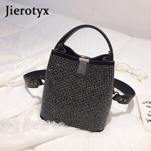 Image 4 - JIEEOTYX Diamanten Frauen Eimer Tasche Berühmte Marke Designer Weibliche Handtaschen Qualität Pu Leder Schulter Taschen Dame Kleine Umhängetasche