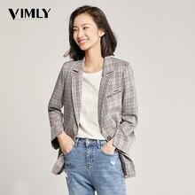 Vimly Vintage Gray Plaid Blazer Women Long Sleeve Vintage Office Ladies Blazer Autumn Winter Jacket Female Outerwear Coats