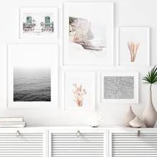 Reed grama poster paisagem pintura da lona minimalista impressão arte da parede natureza cenário nórdico imagem para sala de estar decoração moderna