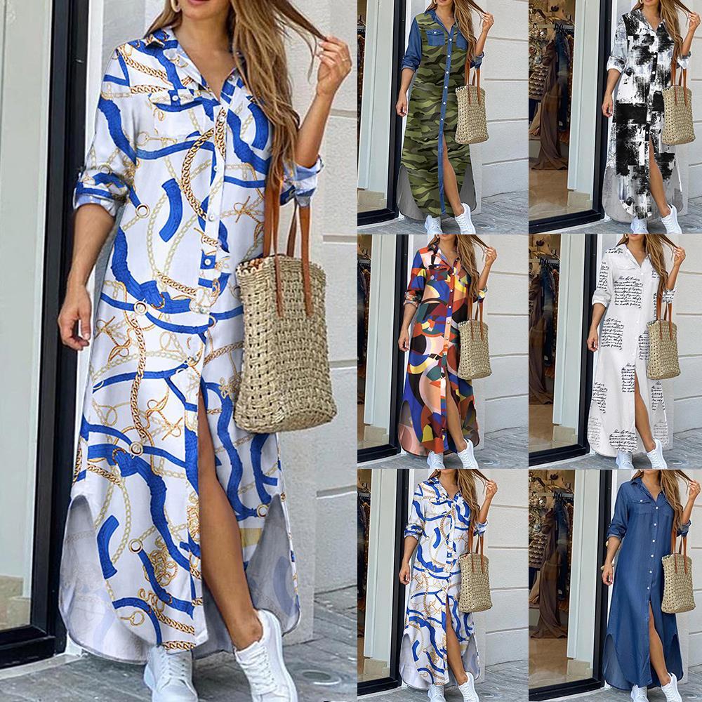 Женское Элегантное Длинное Платье рубашка на пуговицах, летнее платье с цепочкой, с отворотом и вырезом, вечерние платья, повседневное Пляжное Платье макси с длинным рукавом, Vestido Платья      АлиЭкспресс
