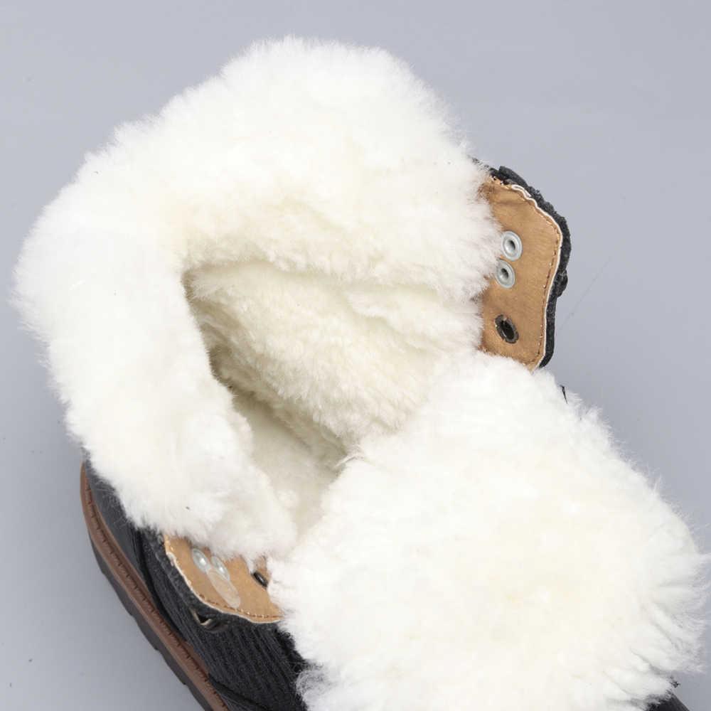 Stivali Da Neve di Lana naturale Formato 35 ~ 48 Più Caldo del Cuoio Genuino di Stile Russo di trasporto Degli Uomini di Inverno Stivali Da Neve # YM1570