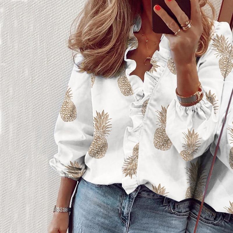 Pineapple Blouse Shirt Women Long Sleeve Womens Tops and Blouse Spring Ruffle Fashion Woman Blouses 2020 Feminine Top Tunic