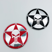 цены 1pcs 3D Aluminum Auto Punisher Star Skull Head Pentagram Car Sticker refit Vinyl Reflective Decal Truck Window Car Accessories