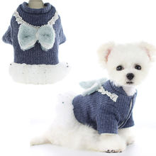 Модное зимнее пальто для собак с меховым бантом одежда маленьких