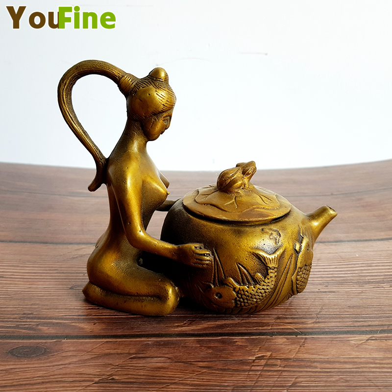 Ancient Chinese bronze ladies teapot Beauty copper metal home collection decorations can be gifted