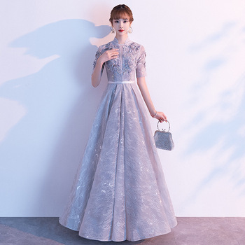 Sexy Gray Oriental Party Female Hand-beaded Stage Show Full Length Qipao Elegant Celebrity Evening Dress Banquet Dresses