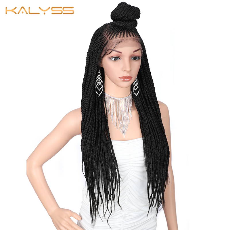 Kalyss 30 Inches Braided Wigs 13x7 Braid Wig Synthetic Lace Front Wigs For Black Women Hand Cornrow Braided Wigs Women's Wig