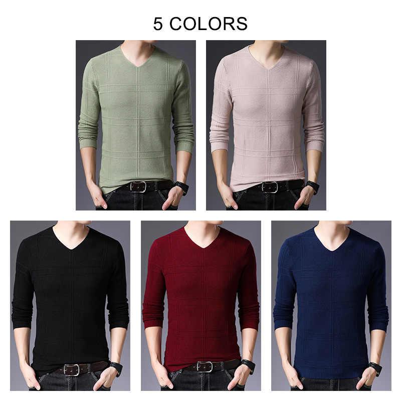 COODRONY marka sweter mężczyźni Casual V-Neck Pull Homme 2019 jesień zima pulower bawełniany mężczyźni Jersey Hombre swetry swetry C1010
