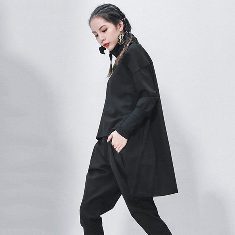 [EAM] Loose Fit Black Irregular Sweatshirt New Turtleneck Long Sleeve Women Big Size Fashion Tide Spring Autumn 2020 1Z320 2