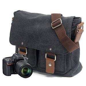 Image 2 - Tuval SLR kamera çantası ulusal coğrafi fotoğraf SLR kamera çantası Canon Nikon Sony için mini Messenger omuz çantası