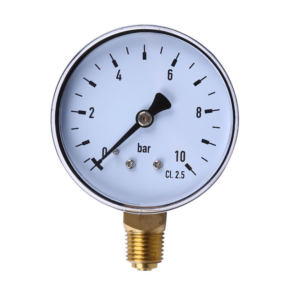 1pcs 1/4 Inch NPT Side Mount 10 Bar Metal Water Oil Air Compressor Pressure Gauge Manometer Pressure Measuring Tool Wholesale