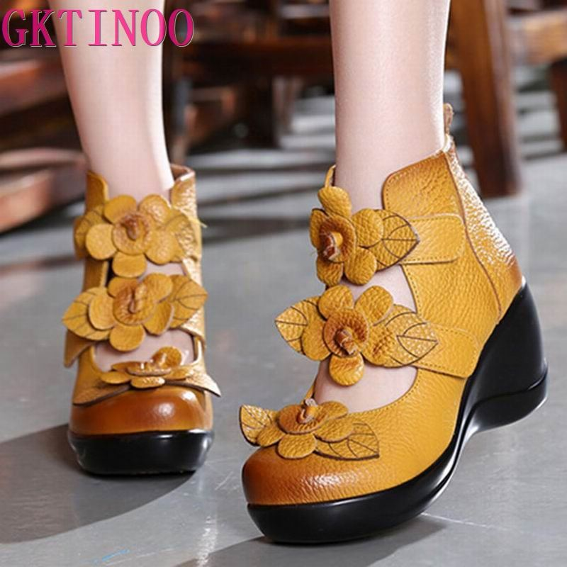 GKTINOO 2020 cuñas altas bombas de plataforma para mujeres de cuero genuino tacones altos plataforma punta redonda Zapatos de Mujer Zapatos Mujer ZUECO ARMONIAS TACÓN TRACK
