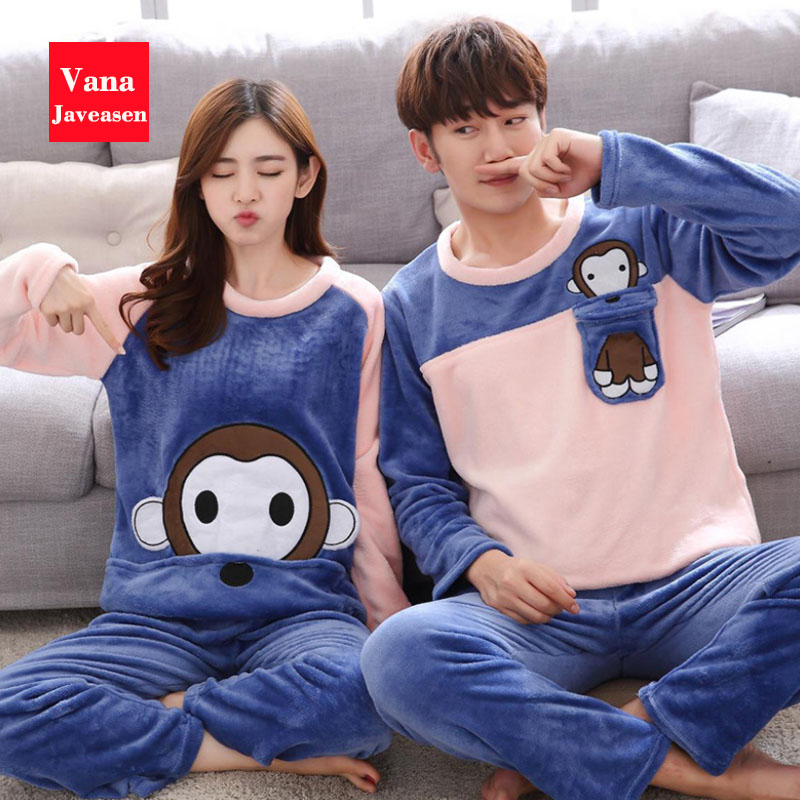 Vana Javeasen Autumn Winter Coral Velvet Couple Pajamas Set O-Neck Plus Size Home Service Suit Casual Women Sleepwear Nightwear