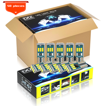 цена на DXZ 50PCS T10 LED Car W5W LED Bulbs 9-SMD Canbus 168 194 6000K 12V White Car Interior Dome Light Clearance Light Error Free