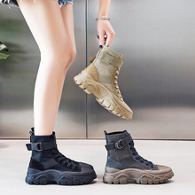 Martin Boots Work-Shoes Genuine-Leather Women Ankle Increased Desert-Combat Thick-Bottom