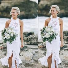 Сексуальные пляжные свадебные платья с открытой спиной в стиле