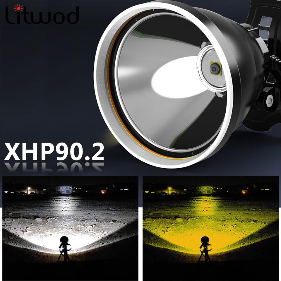 Xhp90.2 White Yellow Color Led Headlamp Headlight Head Lamp Flashlight Torch 32W Bulbs 3* 18650 Battery Power Bank 7800mah Light