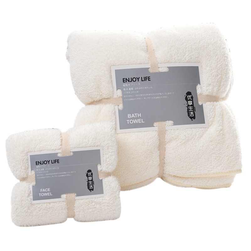 Serviette de bain en molleton doux serviette de bain ensemble Super absorbant microfibre serviettes sèches cadeau épais pour la maison hôtel salle de bains 140x70cm
