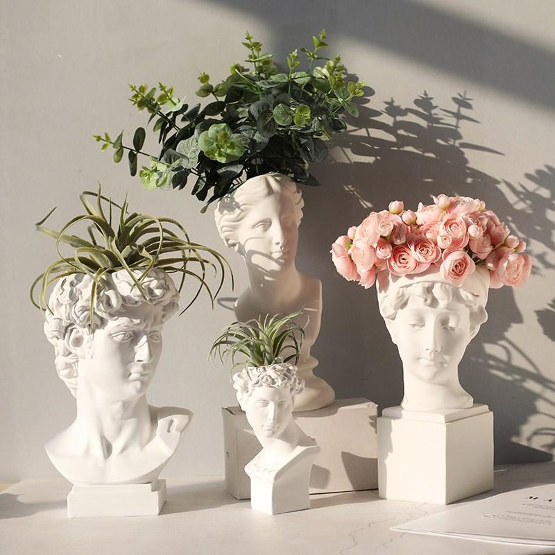 Heads Planter Resin Succulent Planter Vase Greek Statue Urn Home Garden Decor Sculpture David Indoor Outdoor Nordic Flowerpot