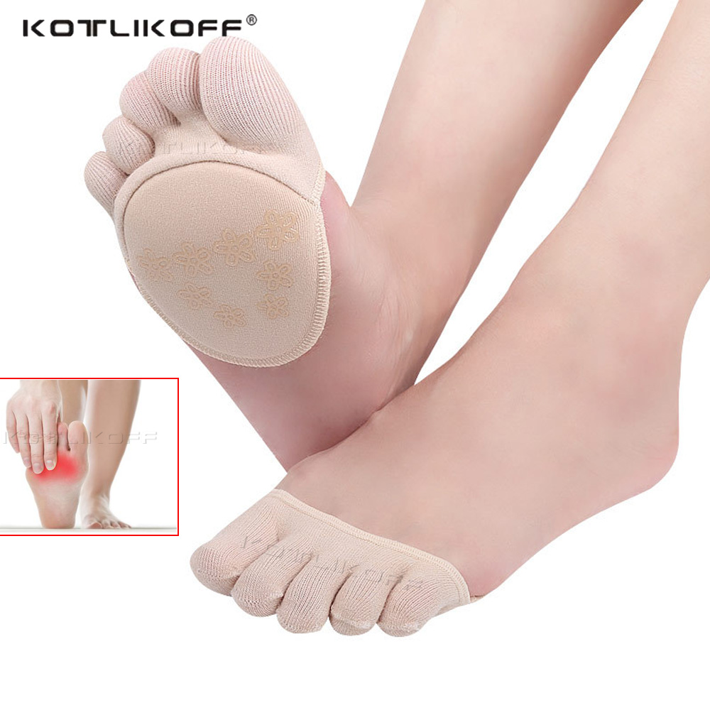 KOTLIKOFF Cotton Half Insoles Pads Foot Care Insoles Forefoot Pain Relief Massaging Metatarsal Toe Support Pads Insoles Forefoot