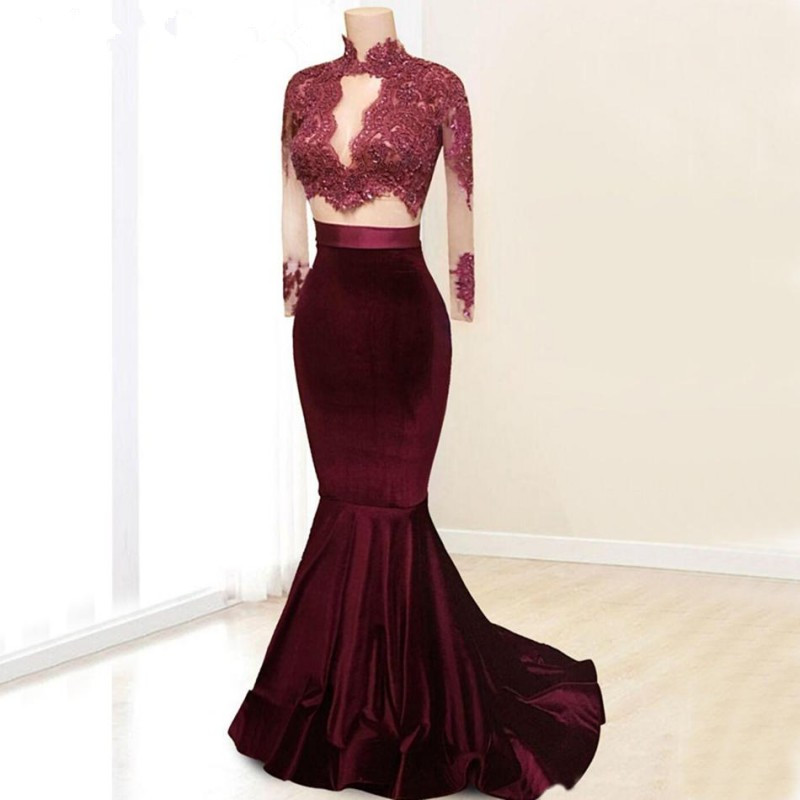 2 Pieces Burgundy Velvet Prom Dresses 2019 Sexy High Neck Long Sleeves Lace Vestido De Festa for Party Gowns African Black Girls