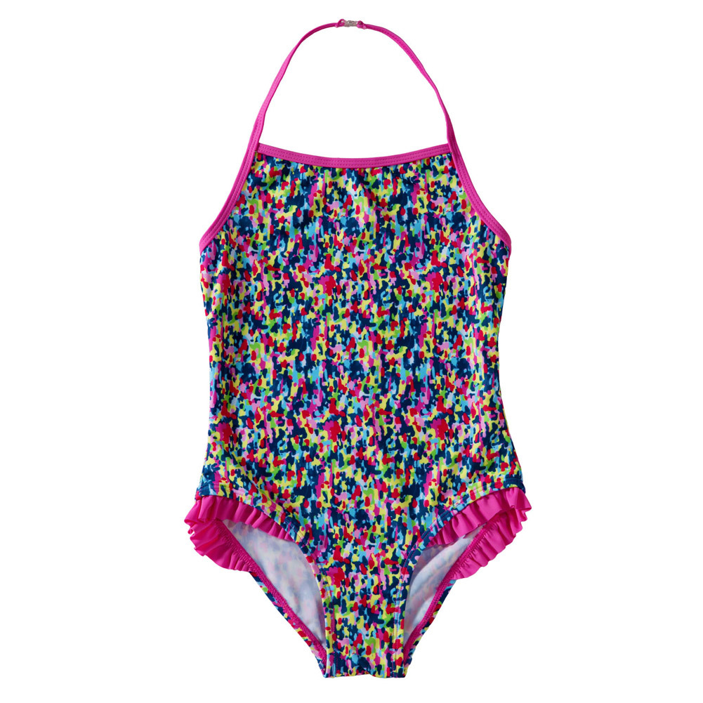 Pa Meng Europe And America New Products Childrenswear Printed Camisole Halter Wrinkle Triangular Child Swimming One-piece Swimwe