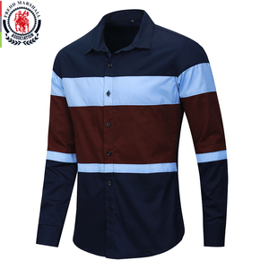 Image 1 - Fredd Marshall 2020 New Fashion Patchwork Shirt Men Casual Brand Clothing Male 100% Cotton Long Sleeve Colorblock Shirt Tops 219