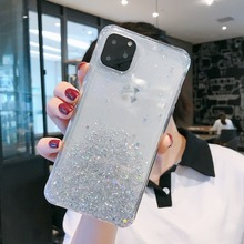 купить Glitter Translucent Phone Case for Iphone 11 Pro Case Soft Silicone Bling Protective Coque for IPhone11 Pro Max Epoxy Back Cover по цене 143.29 рублей