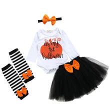 US 4pcs Infant Baby Girl Newborn My First Halloween Pumpkin Costume Romper Net Skirt Bow Headband Sock Outfit Clothes(China)