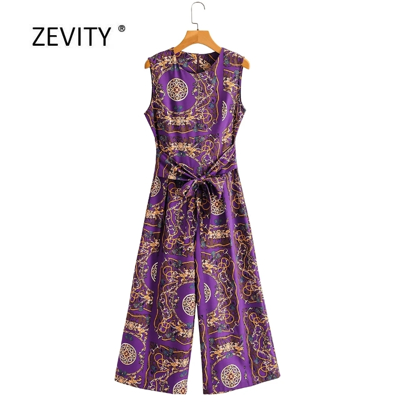 2020 New women vintage totem chain print bow tied sashes casual jumpsuits lady o neck conjoined wide leg pants chic siamese P819