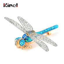 Kinel Opal Dragonfly Brooch Pin Coat Sweater Plate Pendant Buckle Scarf Imitation insect Men and Women Animal Brooches Jewelry(China)