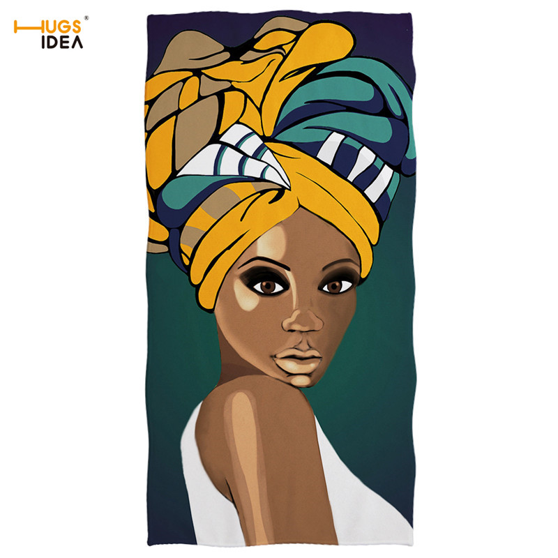 HUGSIDEA Super Absorbent Bath Towels Traditional African Girls Pattern Summer Beach Towel Adults Large Face Hair Cooling Towel