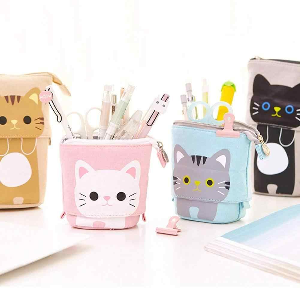 NIEUWE canvas Cartoon Leuke Kat Telescopische Pencil Bag Briefpapier Pen Case Box met Rits Sluiting