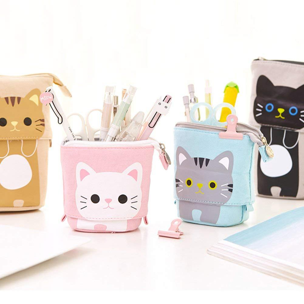 NEW Canvas Cartoon Cute Cat Telescopic Pencil Pouch Bag Stationery Pen Case Box With Zipper Closure