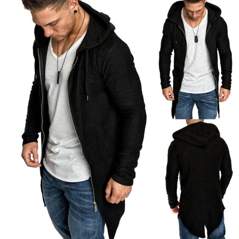 Fashion Newest Hot Men Casual Loose Solid Color Pockets Long Sleeve Hooded Coat Zip Up Sports Hoodie Jacket Overwear Sweatshirt