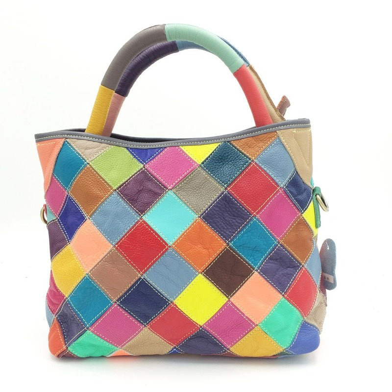 Colorful Plaid Womens Handbags And Purses Luxury Genuine Leather Patchwork Totes Bags Female Cross Body Messenger Bag