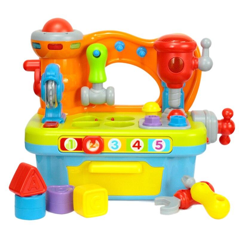 FBIL-outils de Construction musicaux établi jouet, pour enfants Construction banc de travail outils de Construction, avec effets sonores et lumières moteur