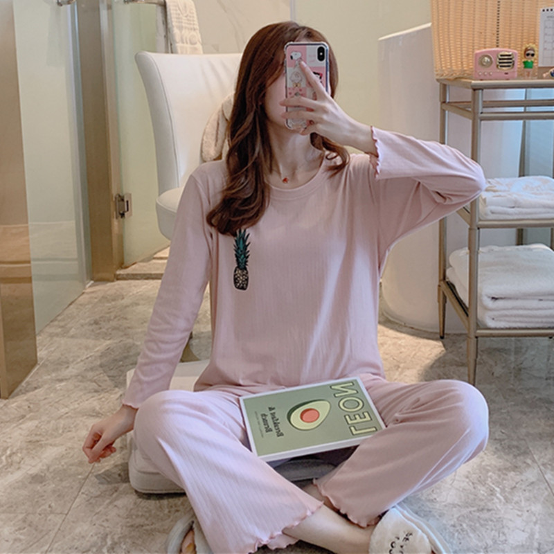 Pajamas Women's Spring And Autumn Long Sleeve Pure Cotton Korean-style Students Cute Pineapple Two-Piece Set Sweet Thin Outer We