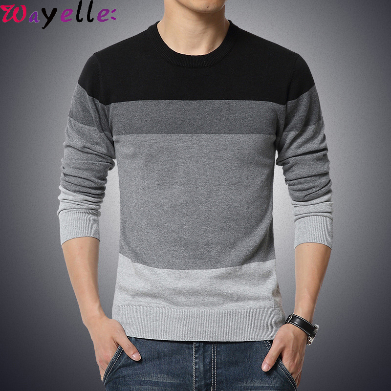 Men's Sweater Pullovers 2019 Autumn Winter Casual O-Neck Striped Slim Fit Knitted Rainbow Sweater Men Basic Pullovers M-3XL