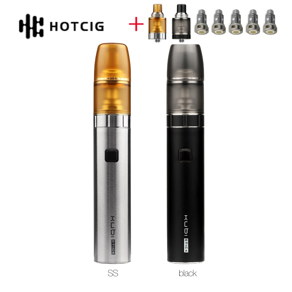 New Original Hotcig Kubi Stick Pen Starter Kit 1500mAh Battery 2ml Refillable Pod 1.2ohm Coil Ecig Vape Kit VS Kubi /Vinci X Kit