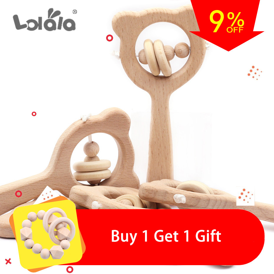 Baby Rattles Toys Beech Wooden Ring Can Chew Hand Teething Wooden Ring Can Chew Beads Baby Rattles Play Stroller Toys Gifts