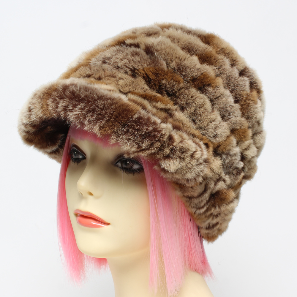 Lady Knitted 100%Natural Real Rex Rabbit Fur Hats Fashion Warm Genuine Fur Caps Russian Lady Knitted Real Fur Beanies