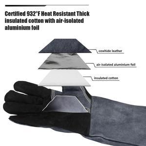 Image 5 - OZERO Welding Glove Work Welders Cowskin Leather Barbecue Gloves Working Garden Protective Cut Resistant Long Sleeve Glove 2415