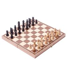 Dropshipping conjunto de xadrez dobrável de madeira com felted tabuleiro de jogo interior para armazenamento adulto crianças iniciante grande placa xadrez 2021
