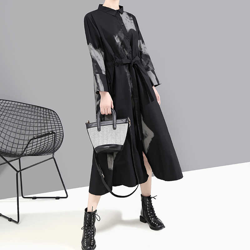 Neue 2019 Koreanische Stil Frauen Herbst Langarm Schwarz Retro Hemd Kleid Tie-gefärbt Dame Große Größe Gedruckt Kleid robe Femme 5458